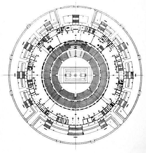 Pier Luigi Nervi, Sports Palace, Plan, Rome, Italy, 1958-1960