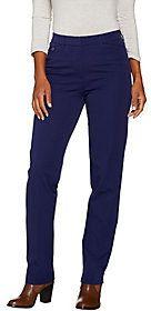 Isaac Mizrahi Live! Petite 24/7 Stretch Straight Leg Fly Front Pants