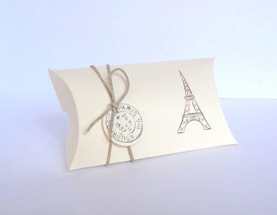 10 Favor Pillow Boxes / Eiffel Tower favor / by ThePaperBazaar, $12.50