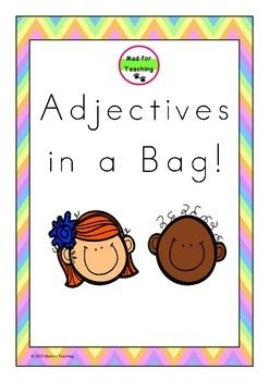 Adjectives in a Bag is a resource with a variety of uses to develop and expand vocabulary in reading, writing and speaking. This pack contains over 170 adjective word cards with activity ideas, including accompanying worksheets to support learning.Happy teaching!
