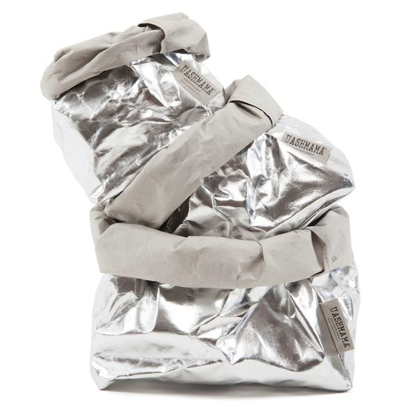 Medium Silver Uashmama Washable Paper Bag from Corner Store via The Third Row. As seen in Inside Out Magazine.