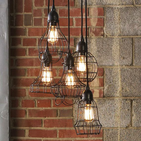 Loft style rustic wire cage industrial pendant light by TudoandCo, $87.00