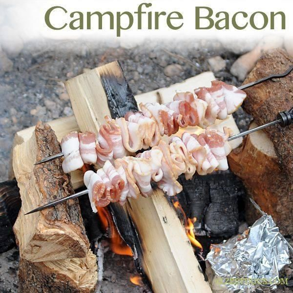 Cool idea for cooking bacon when out camping, save that skillet for eggs and 'shrooms on the side :)  http://www.notaclueadventures.com/