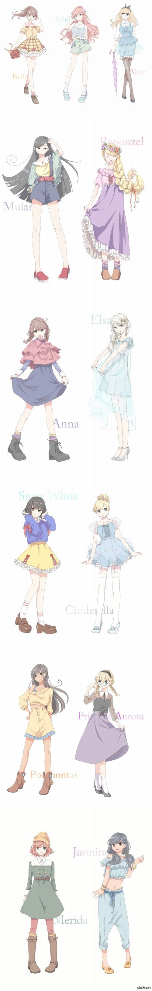 Disney Princesses in Anime style