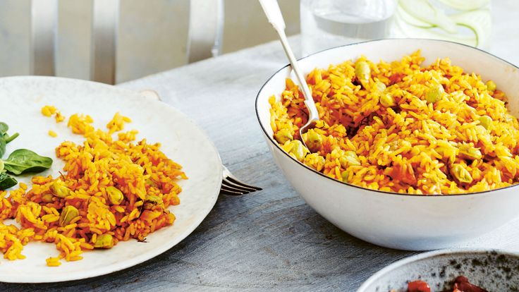 Saffron rice with pine nuts is made all over the Middle East. Sometimes it is spiced with a little ground coriander, ...