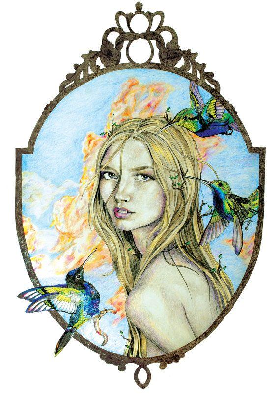 Iris Goddess A4 pencil illustration PRINT by RamonaIllustration