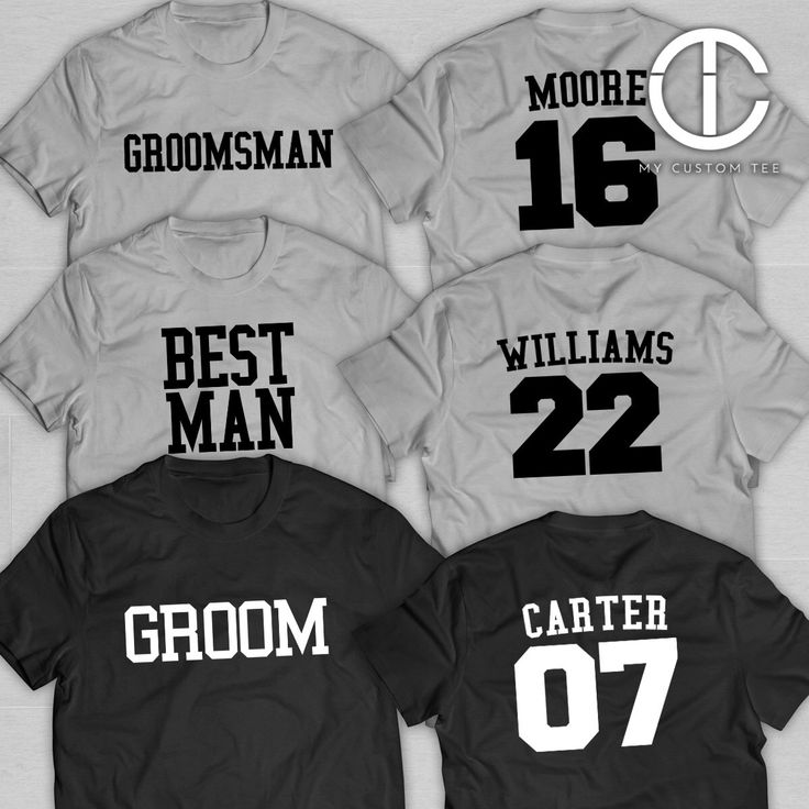 8 Groomsmen Shirts - Bachelor Party with Number - Sports Theme - Groomsman - Set of 8 T-Shirts Tee Custom Customizable by mycustomtees on Etsy https://www.etsy.com/listing/250242020/8-groomsmen-shirts-bachelor-party-with