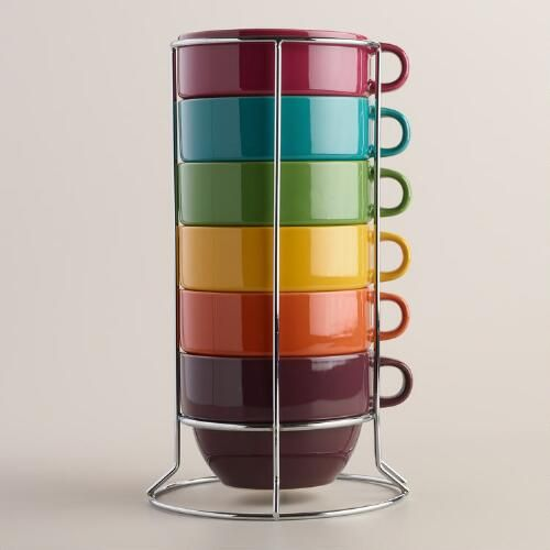 Our set of six stacking mugs is the perfect solution for quick entertaining. Featuring an array of fall colors, these extra-large mugs come in a space-saving metal rack and are dishwasher safe for easy cleanup.