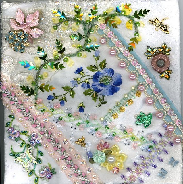 Floral Crazy Quilt Block 3 by Kitty And Me, via Flickr