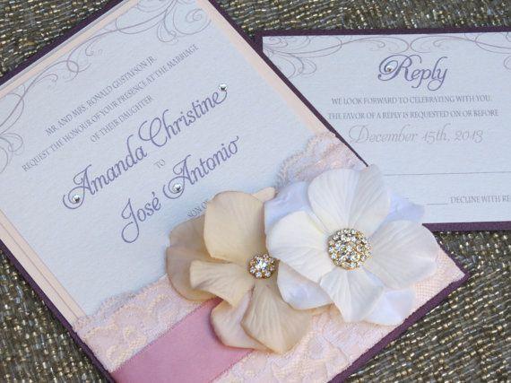 VINTAGE GLAMOUR POCKET - Lace Wedding Invitation - Plum & Blush - Customizable - Handmade on Etsy, $8.50