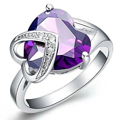 Fashion Women's Purple Platinum Plated Brass Statement Rings(1Pc) – USD $ 4.19