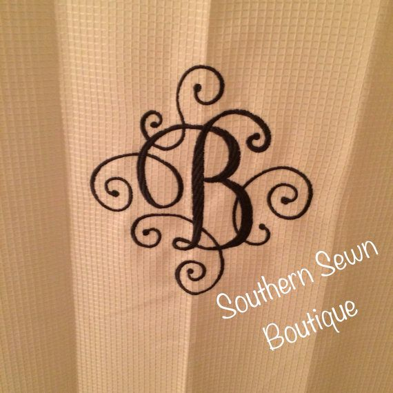 Scroll Monogrammed Shower Curtain 72x84 by SouthernSewnBoutique