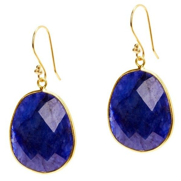 Women's Jemma Sands Mustique Semiprecious Stone Drop Earrings ($120) ❤ liked on Polyvore featuring jewelry, earrings, sapphire, semi precious stone jewelry, facet jewelry, semi precious jewelry, semi precious stone jewellery and drop earrings