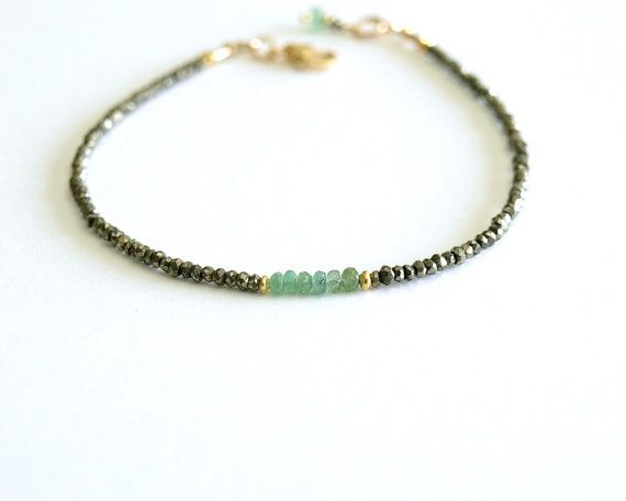 Genuine Emerald Bracelet small natural emeralds by bluegreenjewels