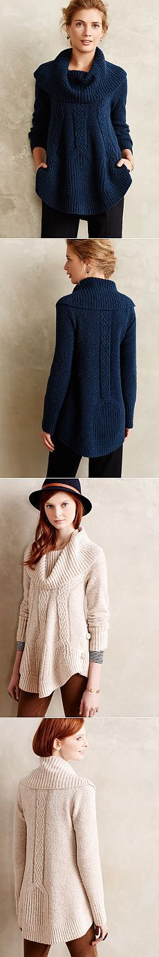 Beauty northern seas - warm tunic with Aran