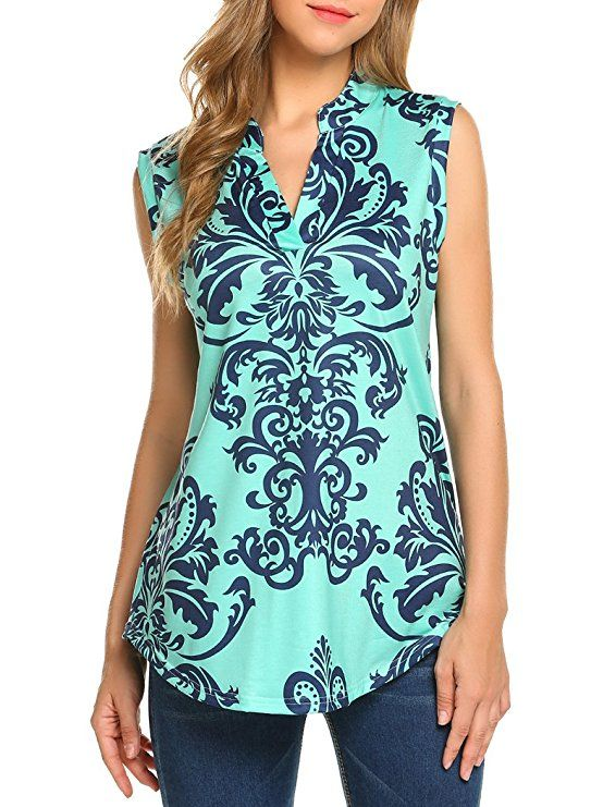 1794df130e0457 Halife Women s Sleeveless Floral Print V Neck Henley Tank Tops Blouse  Shirts Tunic at Amazon Women s Clothing store