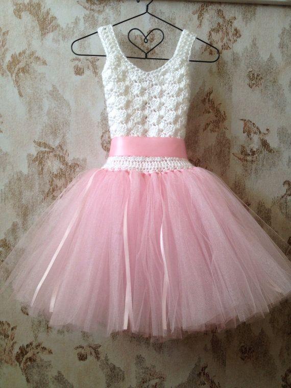 Pink flower girl tutu dress crochet tutu dress pink por Qt2t