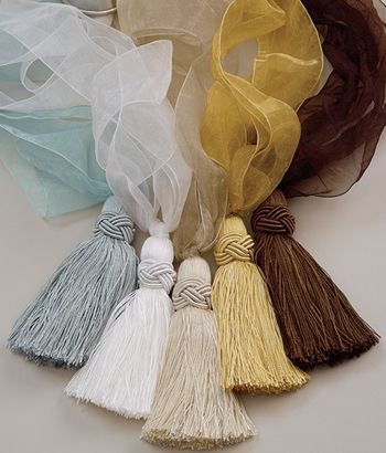 Tassels used to decorate cushions, curtains and sometimes clothing.