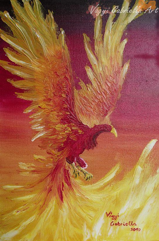 Főnix című olaj festmény - Vágyi Gabriella ART #olaj #művészet #festmény #főnix #tűzmadár