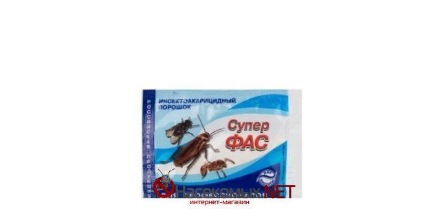 Инсектицидное средство - Супер ФАС, порошок 10 г. ДВ - неоникотиноид (тиаметоксам) 4%, пиретроид (зета-циперметрин) 1%. Препарат для профессионального и бытового применения. Применяется для уничтожения таких насекомых как: блохи, клещи, клопы, моль, осы, муравьи, тараканы. Особую эффективность проявил в борьбе с тараканами. Купить средство Супер ФАС в нашем интернет-магазине.