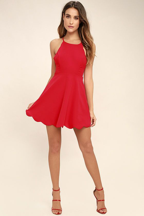 The perfect skater dress is every stylish girl's must-have, and the Play On Curves Red Backless Dress is one you'll cherish forever! Skinny straps support a high rounded neckline as they crisscross and tie over an alluring open back with scalloped trim. The lightweight, woven bodice has princess seams that travel to a fitted waist, above the flaring skirt (with more scalloped detail!). Hidden back zipper/clasp.