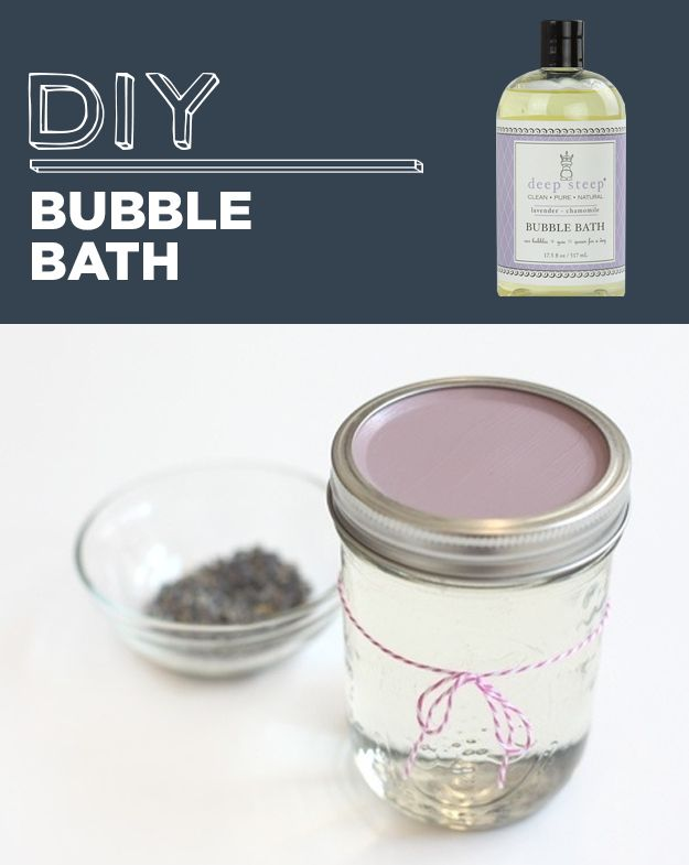 DIY Bubble Bath | 31 Household Products You'll Never Have To Buy Again ~ Bubble Bath ~ Mix together 1 cup of unscented castile soap, 2/3 cup liquid glycerin, 1/4 cup water, and 2–3 drops essential oil.