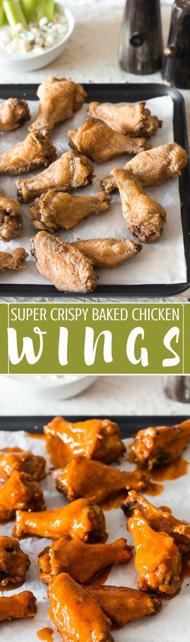 Extra crispy chicken wings that are baked & not fried and ready to be dipped in homemade blue cheese sauce.