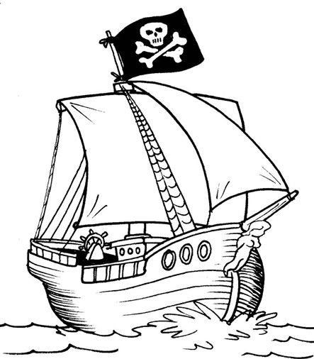 Pirate Ship Coloring Page | Preschool Printable Activities