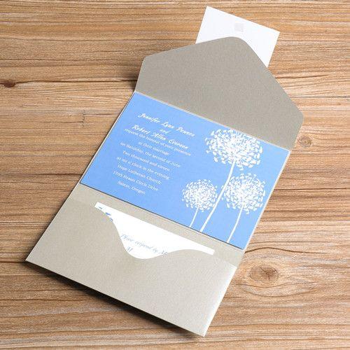 Light Blue Dandelion Silver Pocket Wedding Invitations Ewpi041