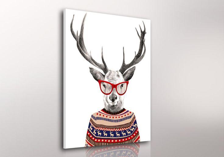 Obraz na płótnie + HIPSTERSKI JELEŃ + 80X60 cm w LUdesign na DaWanda.com