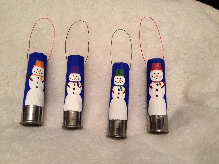 Snowman shotgun shell ornaments