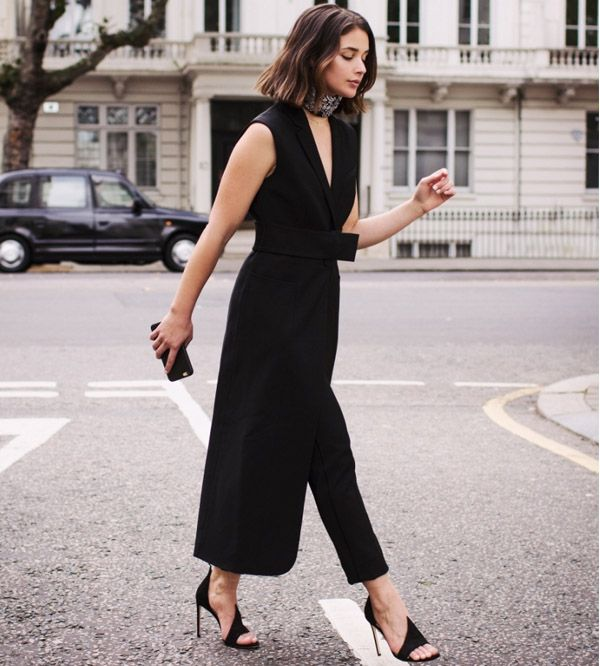 sara donaldson street style look maxi colete preto calça
