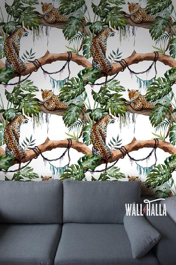 Naadloze zelf klevende Luipaard patroon behang - verwisselbare Vintage muur stickers - Leopard muur Stickers - Jungle Tiger Wallpapers