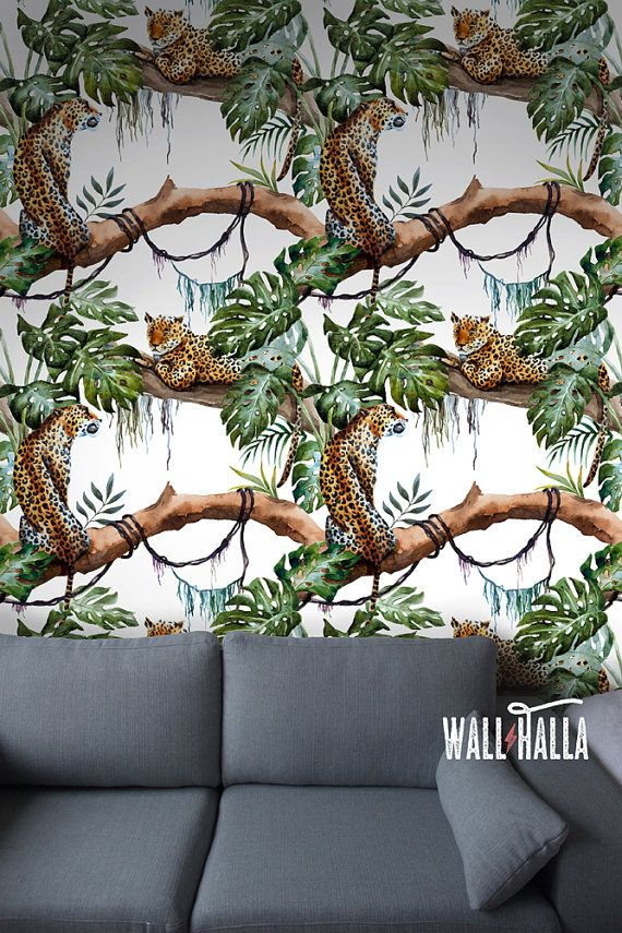 Seamless Self Adhesive Leopard Pattern Wallpaper - Removable Vintage Wall Decals - Leopard Wall Stickers - Jungle Tiger Wallpapers