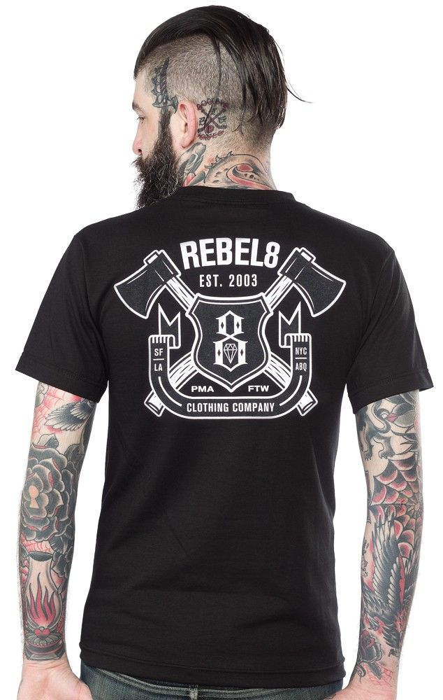 REBEL 8 HATCHET T SHIRT $30.00 #rebel8 #guys #tattooapparel