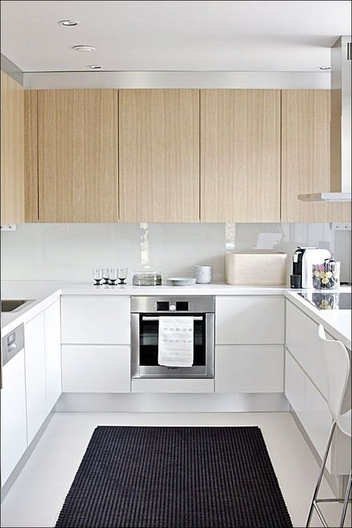 #Neutral U-Shaped Kitchen in White Color and Wood Cabinets also Dark Rugs