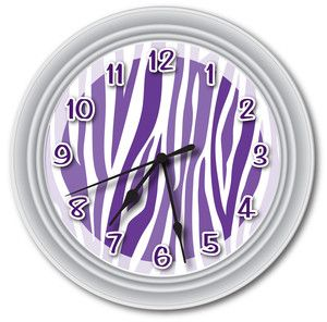 Purple zebra print stuff | Purple Animal Zebra Print Wall Clock Canvas Room Accent Decor Party ...
