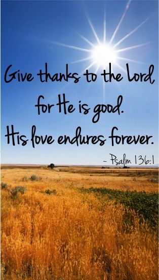 Give Thanks to the Lord, for He is good. His love endures forever. ~ Psalm 136:1