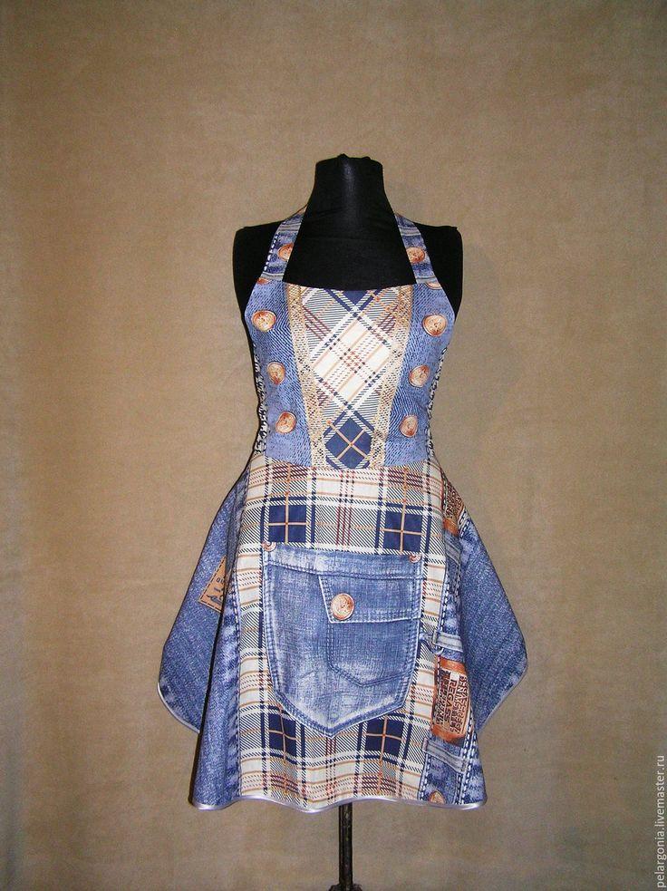"""Лоскутная мозаика. Мои работы.  Фартук женский """"Джинсовый""""(юбка клеш,джинса, синий) - женский фартук, подарок женщине"""