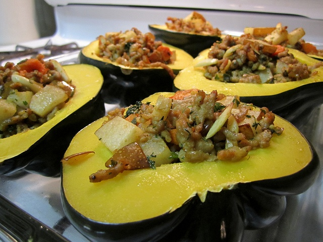 Pear and Ground Pork Stuffed Winter Squash