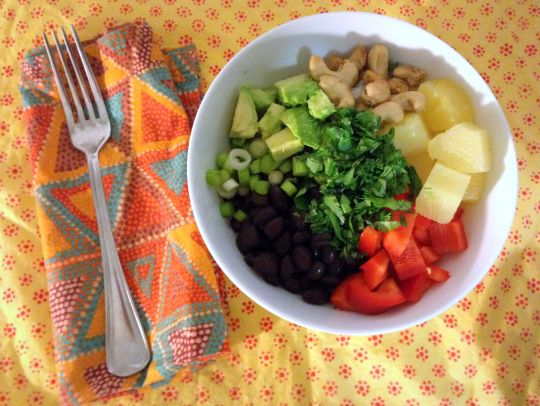 Caribbean bowl with coconut rice, black beans, pineapple, cashews ...