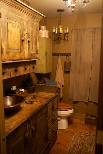 280 best primitive colonial bathrooms images on pinterest for Country rustic bathroom ideas