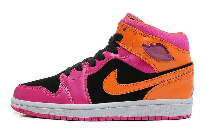 Authentic Air Jordan 1 Phat Black Orange Pink Custom