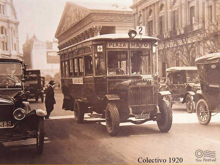 Colectivo linea 2 hacía plaza de mayo, Buenos Aires, 1920.