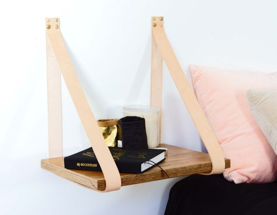 Leather Strap Hanging Bedside Table Shelf- Veneer Plywood Timber with Tan Leather. Modern Design. Wall Mounted