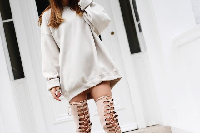 Sweater dress x knee high boots = outfit complete @toula