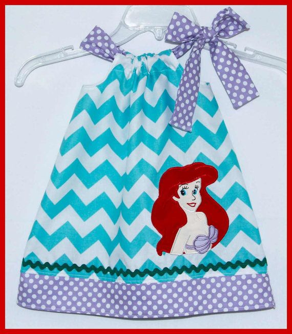 Little Mermaid Ariel Applique dress Aqua chevron and Purple Polka dot on Etsy, $26.00