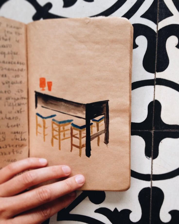 journal notes, drawings
