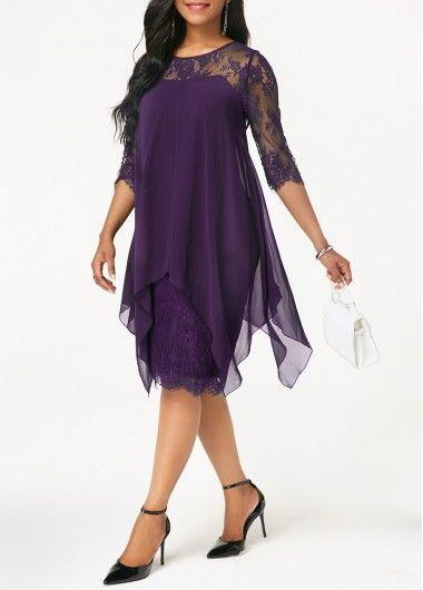 5752e173162075 Round Neck Chiffon Overlay Lace Dress | modlily.com - USD $38.26 ...