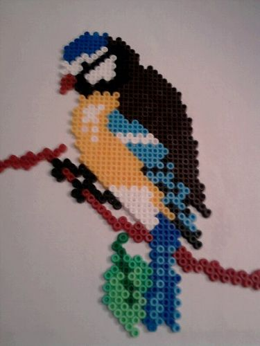 Perler bead bird.
